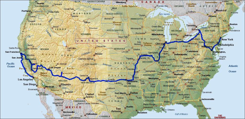 Карта маршрута по США
