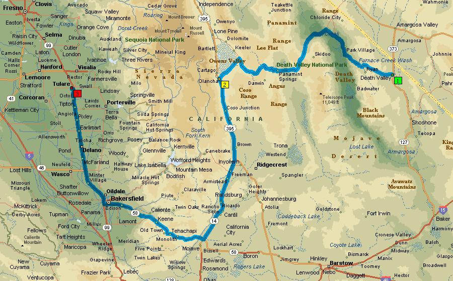 Запланированный маршрут через Долину Смерти до Туларе