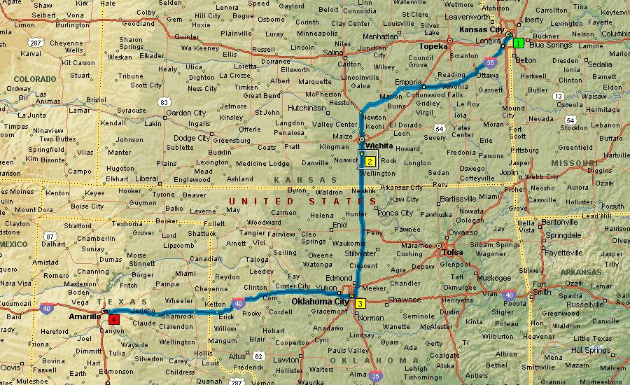 Маршрут Канзас - Оклахома-Сити - Амарилло