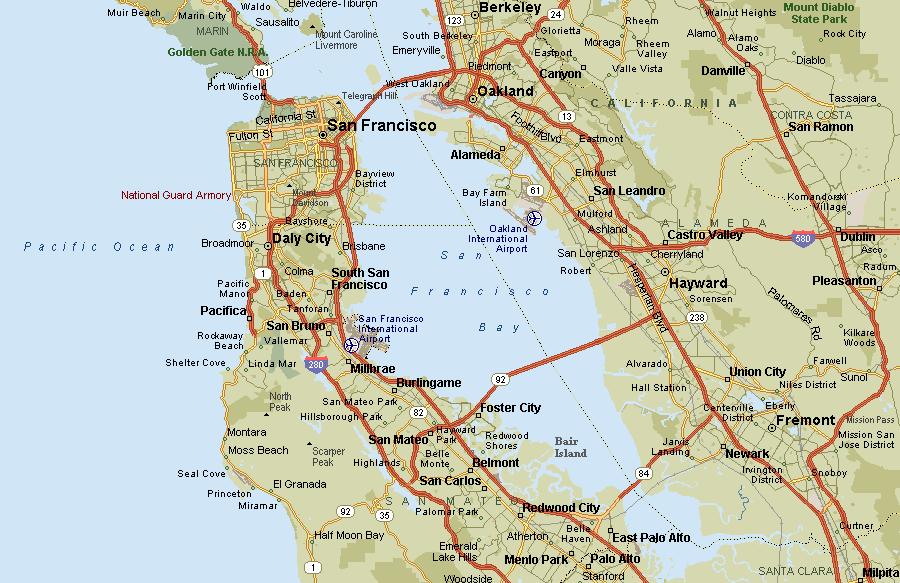 Карта Долины и окрестностей Сан-Франциско