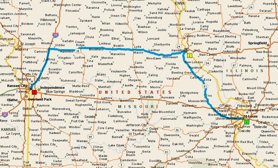 Дорога Сент Луис - Ганнибал - Канзас Сити